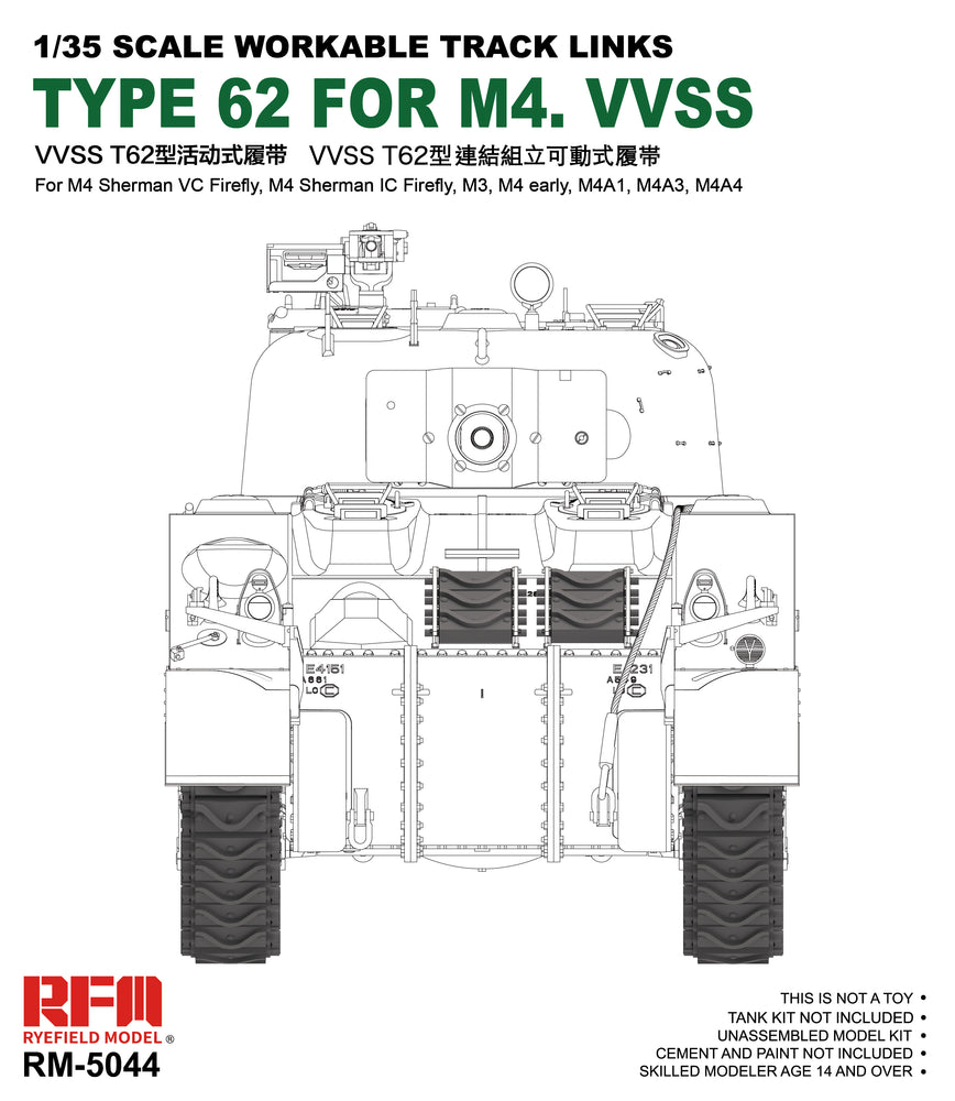 1/35 M4  HVSS TYPE 62 WORKABLE TRACK LINKS  by RyeField