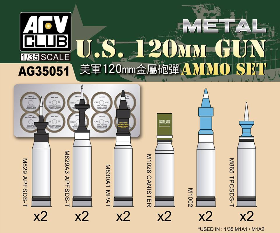 1/35 US M1A1/M1A2 M256 120mm AMMO SET (ALUMINUM) AFV CLUB AG35051