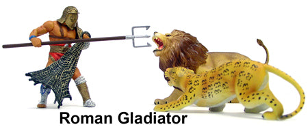 90MM GLADIATOR WITH TWO ANIMALS