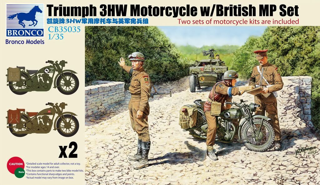1/35 TRIUMPH 3HW MOTORCYCLE W/BRITISH MP SET