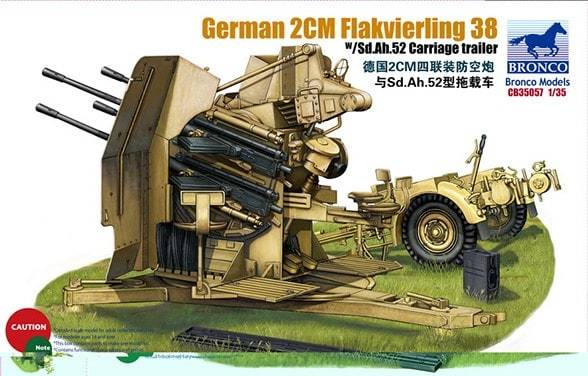 1/35 GERMAN 2cm FLAKVIERLING 38 W/SD.AH.52 CARRIAGE TRAILER