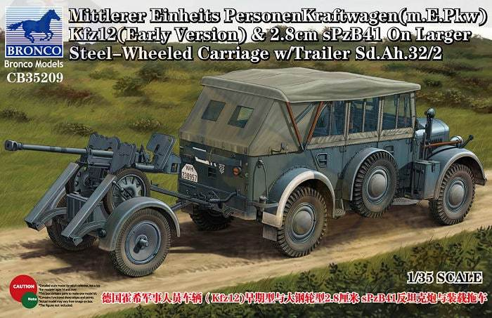 1/35 MITTLERER EINHELTS PERSONENKRAFTWAGEN & 2 8CM SPZB41 ON LARGER STEEL-WHEELED CARRIAGE W/TRA...