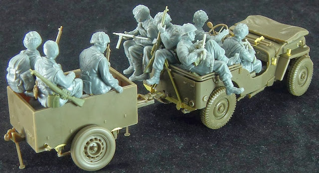 1/35 BRITISH AIRBORNE TROOPS RIDING IN 1/4 TON TRUCK/TRAILER BRONCO MODELS CB35169