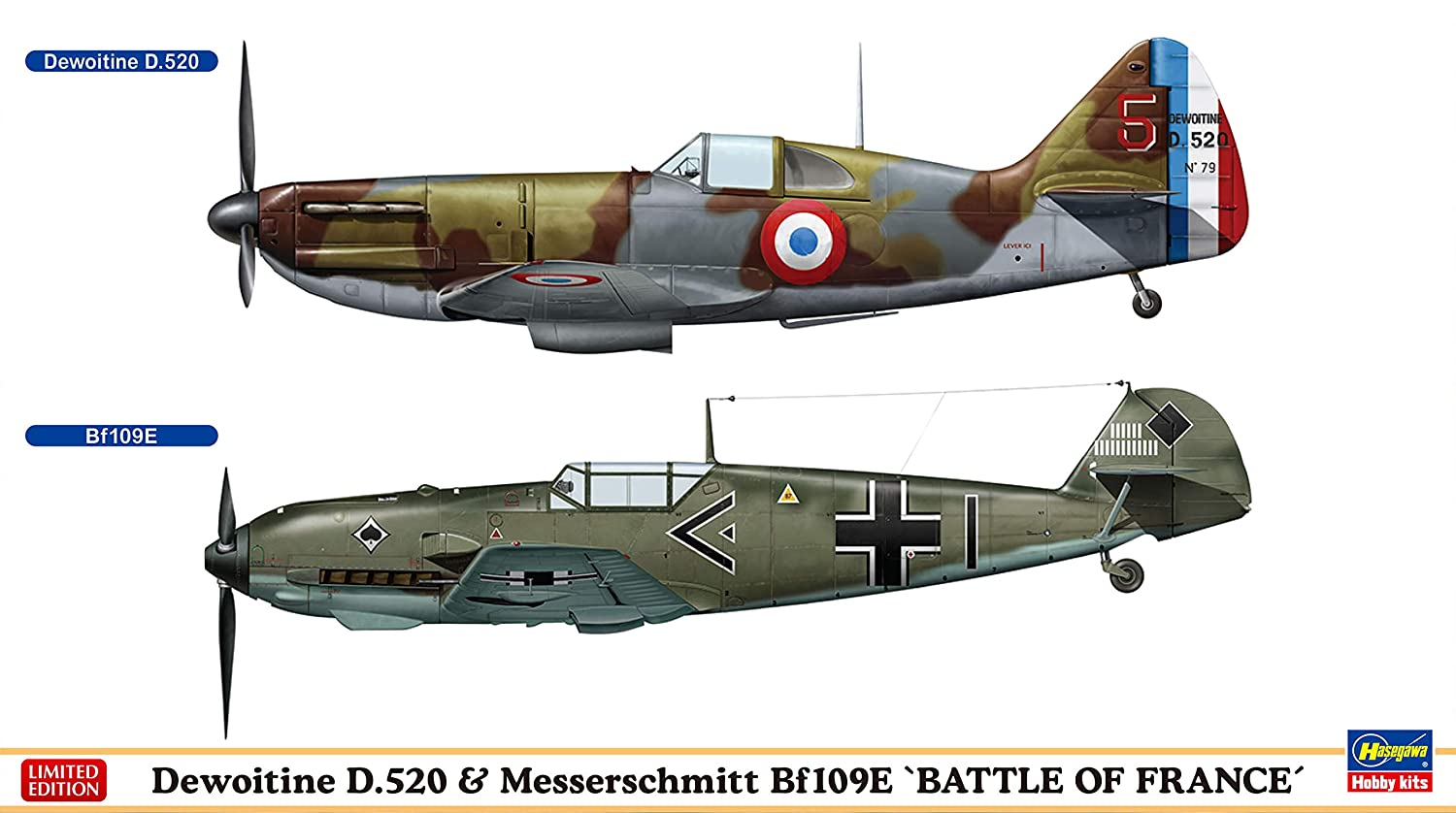 "1/72 Dewoitine D.520 & Messerschmitt Bf109E ""Battle of France"" by HASEGAWA"