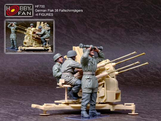 1/35 GERMAN FALLSCHIRMJAGERS OPERATING FLAK 38 (4 FIGURES)