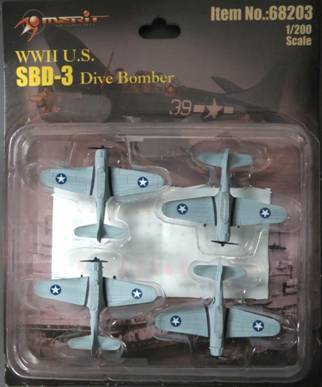 "1/200-SBD-3 - 4 ""BUILT & PAINTED"" PLANES BLISTER CARD SET"