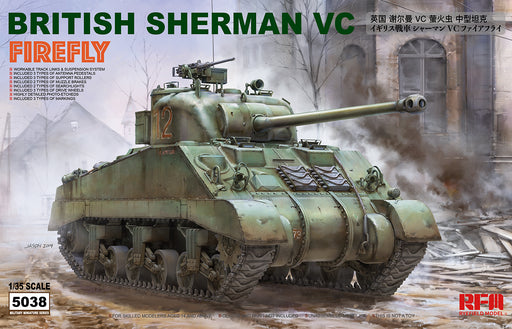 "1/35 BRITISH SHERMAN VC ""FIREFLY"" W/ WORKABLE TRACK LINKS RYEFIELD 5038"