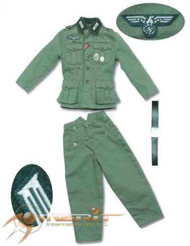 1/6 GERMAN ARMY M36 UNIFORM-LT GREEN W/EMBROILED COLLAR TABS