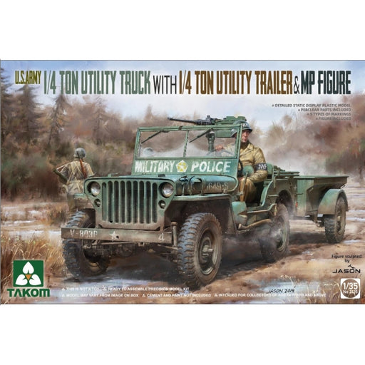 1/35 Takom US Army 1/4-ton Utility Truck with 1/4-ton Utility Trailer & MP Figure TAKOM 2126