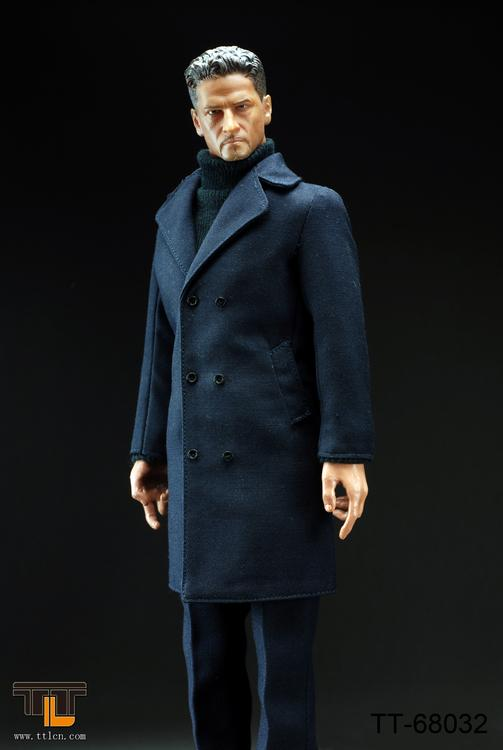 1/6 MALE FIGURE SET WITH LONG COAT IN DARK GRAY
