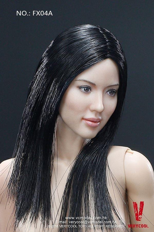 1/6 FEMALE BODY V.3.0 - ASIAN BLACK STRAIGHT HAIR HEADSCULPT