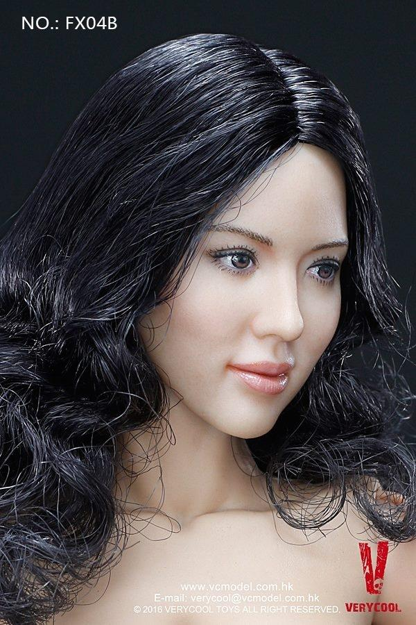1/6 FEMALE BODY V.3.0 - ASIAN BLACK CURLY HAIR HEADSCULPT