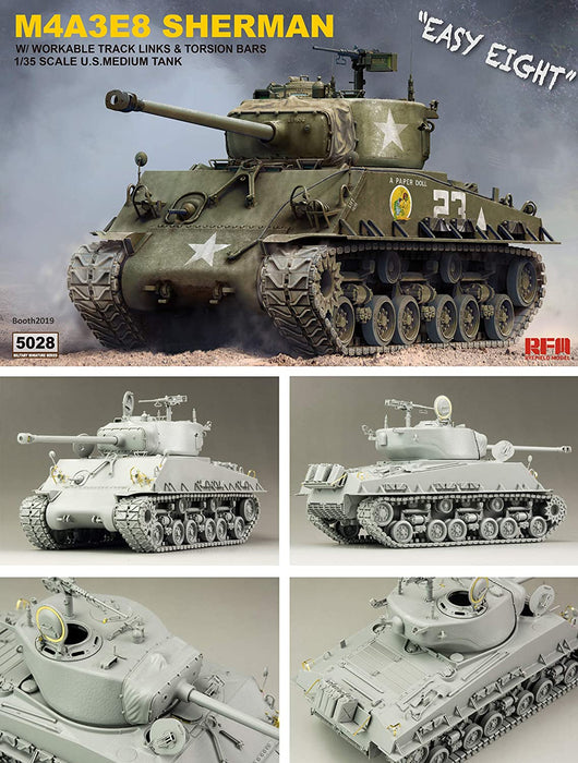 1/35 SHERMAN M4A3E8 WITH WORKABLE TRACK LINKS RYEFIELD MODEL