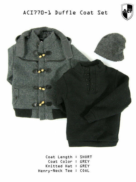 1/6 GREY SHORT DUFFLE COAT SET, COAL HENRY-NECK TEE
