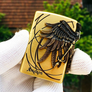 Zippo Amazon Angel Golden Engraved Brass 3D Lighter