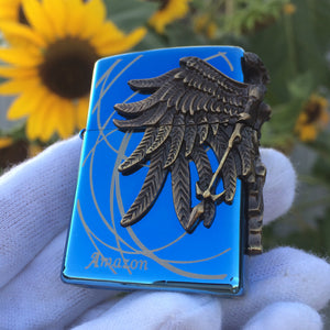Zippo Amazon Angel Blue Engraved Brass 3D Lighter