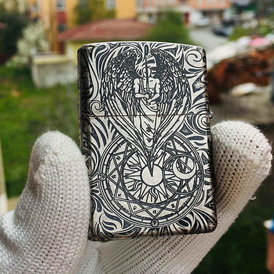Zippo Guardian Angel Silver Engraved Lighter