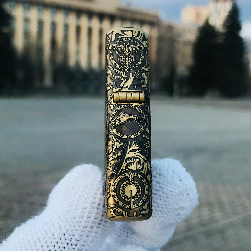 Zippo Game of Thrones The Iron Throne Golden Engraved Brass Lighter