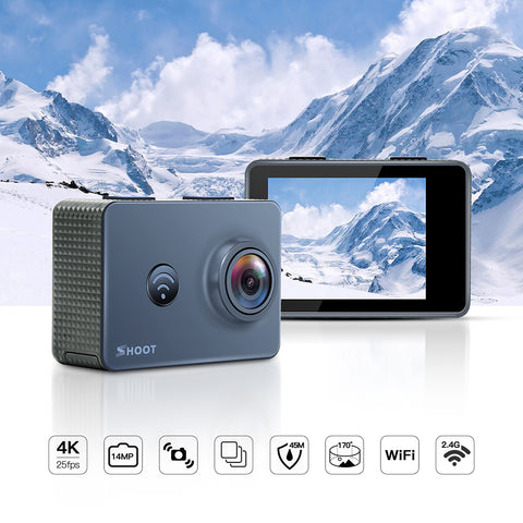 SHOOT 4K Action Camera WiFi Ultra HD 14MP 1080P/60FPS Action Camera