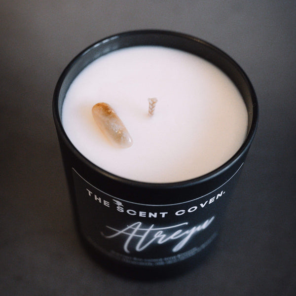gothic luxury candles, atreyu crystal candle, the scent coven, witchy candles, soy wax candles