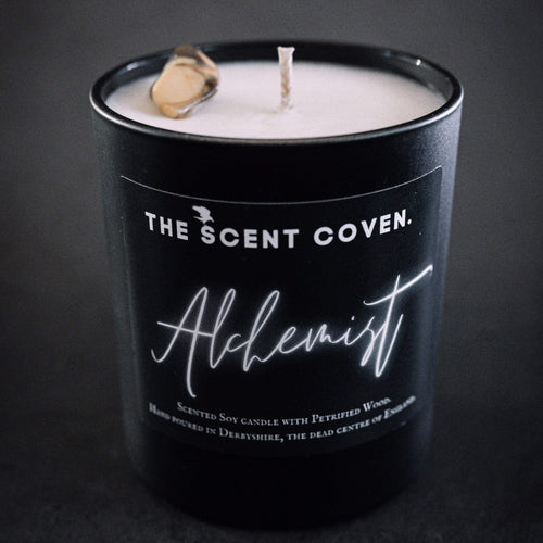 gothic luxury candles, alchemist crystal candle, the scent coven, witchy candles, soy wax candles