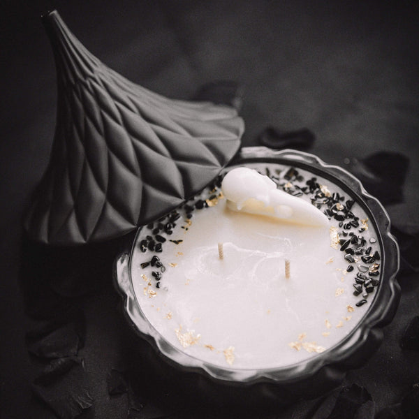 The Ravens Tear - Scented Soy Candle with Obsidian & 24ct Gold.