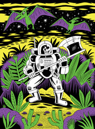 Axe-Stronaut Black Light Poster by Jack Teagle