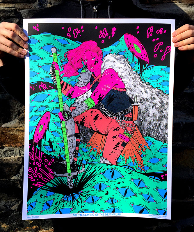 Brutal Slaying of the Deathwürm Black Light Poster by Jenn Woodall