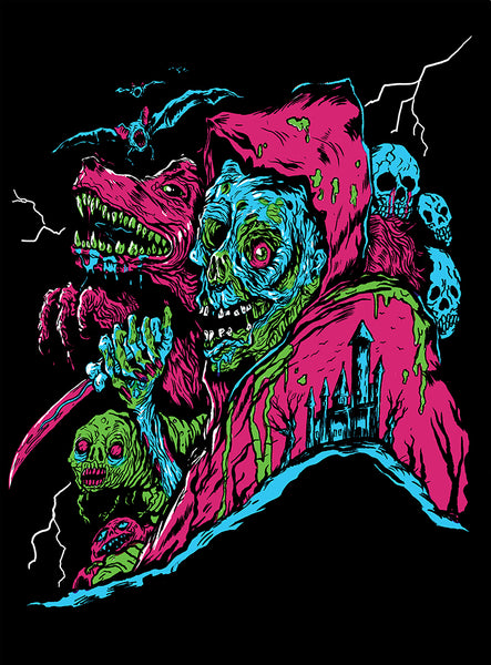 Liches N' Wolves Black Light Poster by Trevor Henderson