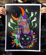 It's a Haunted House, Dummy Black Light Poster by Monica Amneus