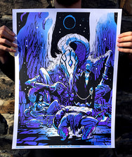 The Oracles and the Wanderer Black Light Poster by Sam Bosma
