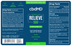 CBD Premium Relieve with 4% Lidocaine Roll-on (500mg)
