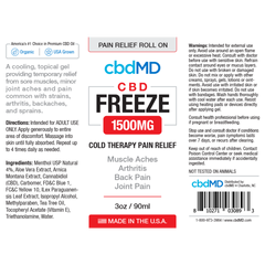 CBD Freeze Pain Relief 3oz Roller 1500 mg