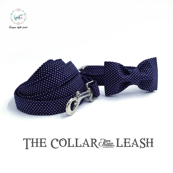 Navy Bowtie Collar and Leash Combo
