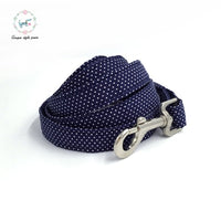 Combo Blue Polka Dot Collar and Lead with Bow