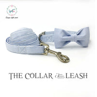 Combo Blue Striped Collar and Lead with Bow
