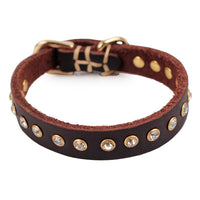 Luxury Leather and Gems Collar