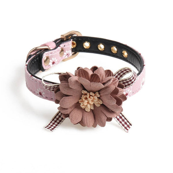 Dog Collar Pet Products 1 PC Adjustable Pet Neck Strap Flower Shape PU Leather Small Dog Leads Cat Bow tie