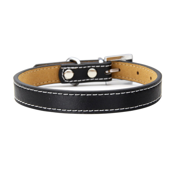 Colorful line Genuine Leather Dog Collar Thin style Back microfiber material Durable for Small Big Dog chain Strap Product
