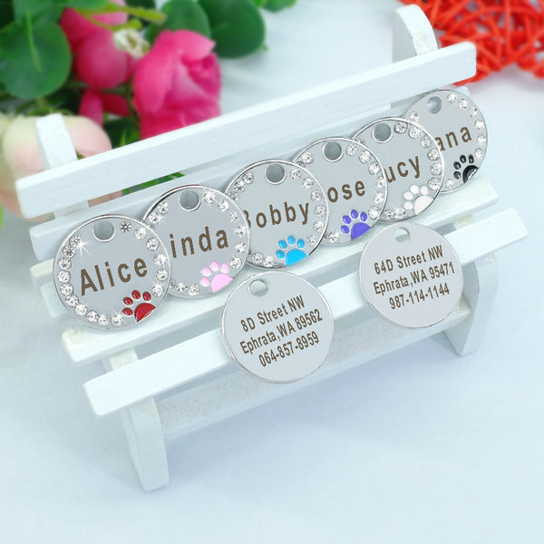 New! Dog Collar Accessories Engraved Stainless Steel Name Paw Tag For Dogs Cats Pink