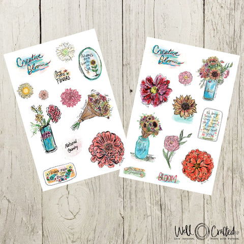 Sunflower Market Bouquet Stickers