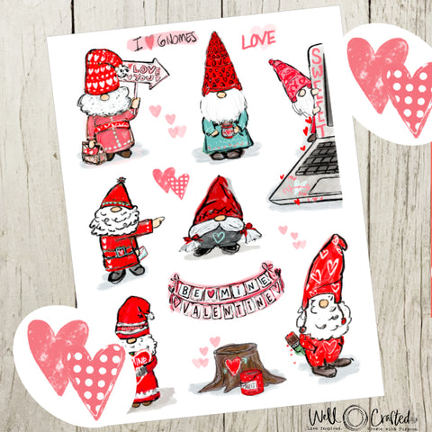 Gnome Valentine's Day Stickers