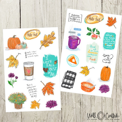 Hello Fall Stickers Design