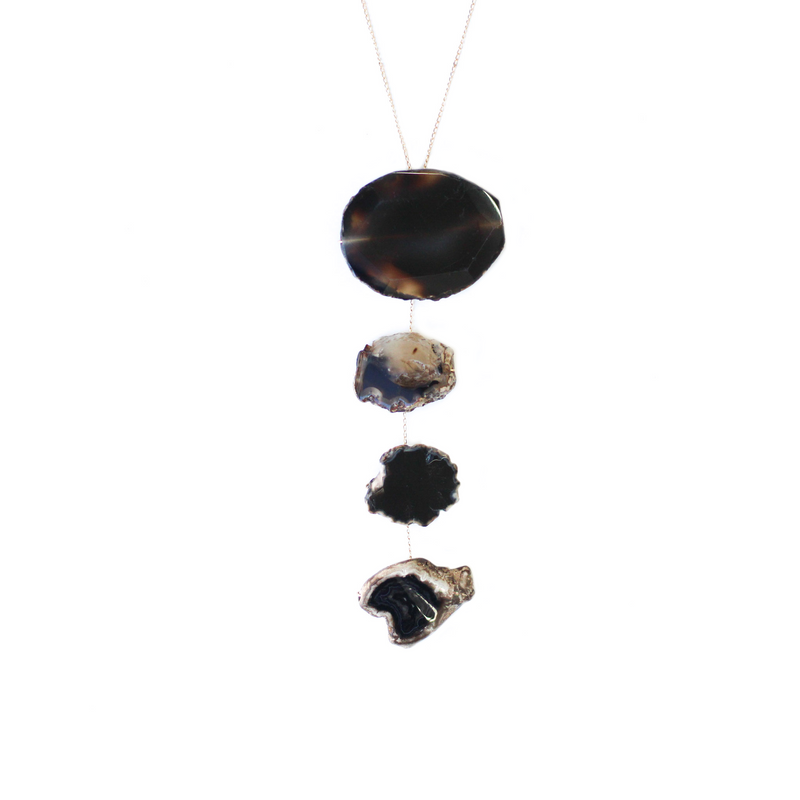 Four Stones & Leather Necklace