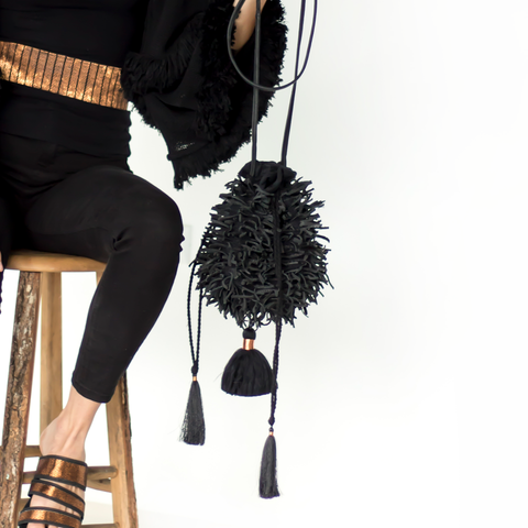 Handwoven Black Tassle Bag