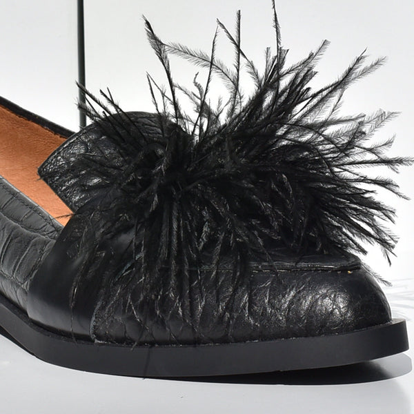 Croc leather embossed feather flats