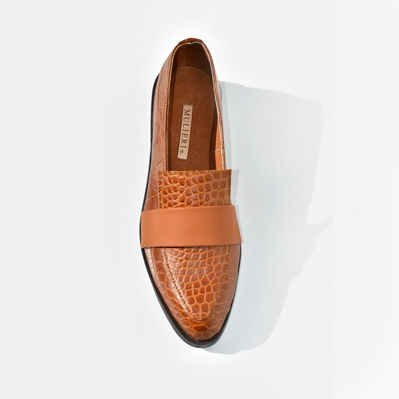 Croc leather embossed flats