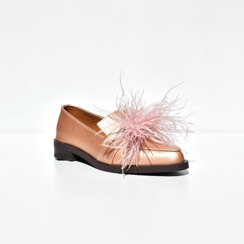 Rose Gold Feather Moccasin Flats