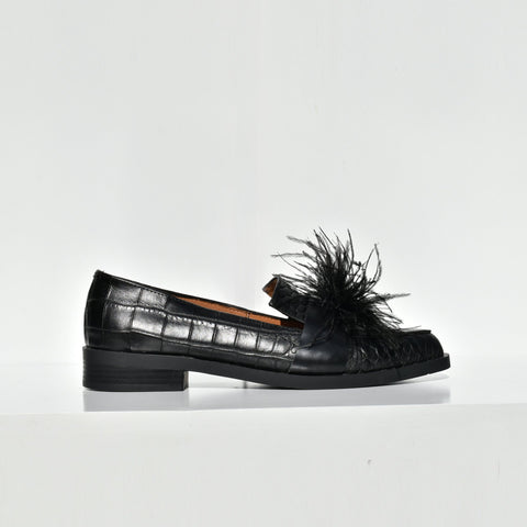 Croc Embossed Leather Feather Flats