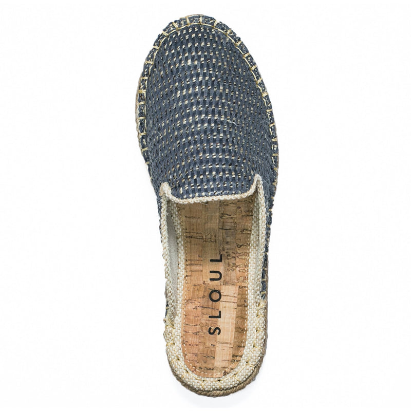 Blue Straw Repose Mules